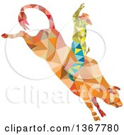 Clipart Of A Retro Low Poly Geometric Rodeo Cowboy Riding A Bull Royalty Free Vector Illustration