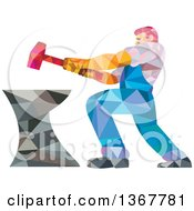 Clipart Of A Geometric Low Polygon Styled Blacksmith Worker Man Swinging A Sledgehammer On An Anvil Royalty Free Vector Illustration