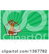 Poster, Art Print Of Happy Arborist Tree Holding A Saw In A Pentagon And Green Rays Background Or Business Card Design