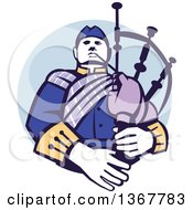 Clipart Of A Retro Scotsman Bagpiper In A In A Blue Circle Royalty Free Vector Illustration