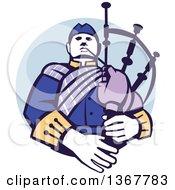 Retro Scotsman Bagpiper In A In A Blue Circle