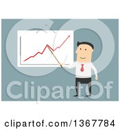 Clipart Of A Flat Design White Business Man Presenting A Chart On Blue Royalty Free Vector Illustration by Vector Tradition SM