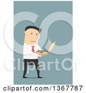 Clipart Of A Flat Design White Business Man Using A Compass On Blue Royalty Free Vector Illustration by Vector Tradition SM