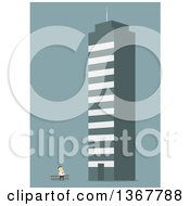 Clipart Of A Flat Design White Business Man Looking Up At A Giant Building On Blue Royalty Free Vector Illustration by Vector Tradition SM