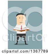 Clipart Of A Flat Design White Business Man Reading A Book On Blue Royalty Free Vector Illustration by Seamartini Graphics