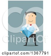 Clipart Of A Flat Design White Business Man Holding A Giant Diamond On Blue Royalty Free Vector Illustration by Vector Tradition SM