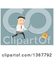 Clipart Of A Flat Design White Business Man Chasing A Coin With Cutlery On Blue Royalty Free Vector Illustration by Vector Tradition SM