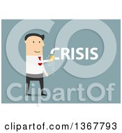 Clipart Of A Flat Design White Business Man Erasing A Crisis On Blue Royalty Free Vector Illustration