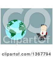 Clipart Of A Flat Design White Business Man Using A Laptop Connected To The Globe On Blue Royalty Free Vector Illustration by Vector Tradition SM