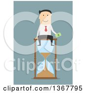 Clipart Of A Flat Design White Business Man Holding Cash And Sitting On An Hourglass On Blue Royalty Free Vector Illustration