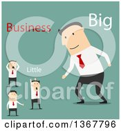 Clipart Of A Flat Design White Business Man Ready To Partner With Smaller Men On Green Royalty Free Vector Illustration