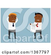 Clipart Of A Flat Design Black Business Man Watching Someone Tear Up A Contract On Blue Royalty Free Vector Illustration