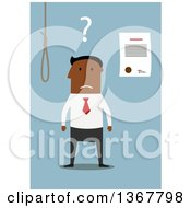 Clipart Of A Flat Design Black Business Man Choosing Between Debt Noose And Bankruptcy On Blue Royalty Free Vector Illustration by Vector Tradition SM