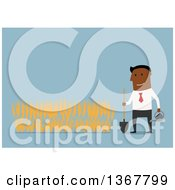 Clipart Of A Flat Design Black Business Man Growing A Wheat Crop On Blue Royalty Free Vector Illustration by Vector Tradition SM