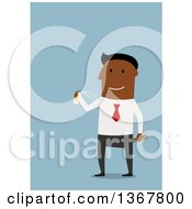 Clipart Of A Flat Design Black Business Man Spraying On Cologne On Blue Royalty Free Vector Illustration by Vector Tradition SM