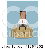 Clipart Of A Flat Design Black Business Man Sitting On Money Bags On Blue Royalty Free Vector Illustration