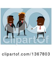 Clipart Of A Flat Design Black Business Man Talking To Guards On Blue Royalty Free Vector Illustration