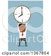 Clipart Of A Flat Design Black Business Man Holding Up A Clock On Blue Royalty Free Vector Illustration by Vector Tradition SM