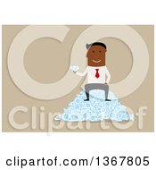 Clipart Of A Flat Design Black Business Man Sitting On A Pile Of Diamonds On Tan Royalty Free Vector Illustration