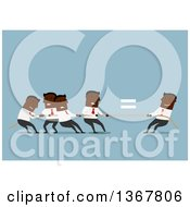 Clipart Of A Flat Design Black Business Man Winning Tug Of War Against A Team On Blue Royalty Free Vector Illustration