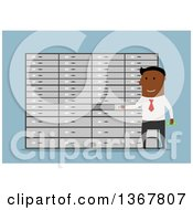 Clipart Of A Flat Design Black Business Man Putting Something In A Deposit Box On Blue Royalty Free Vector Illustration