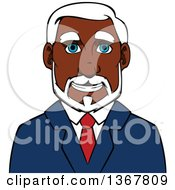 Clipart Of A Cartoon Black Businessman Avatar Royalty Free Vector Illustration by Vector Tradition SM