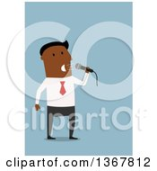 Clipart Of A Flat Design Black Business Man Speaking Into A Microphone On Blue Royalty Free Vector Illustration