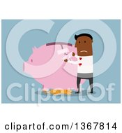 Clipart Of A Flat Design Black Business Man Patching Up A Broken Piggy Bank On Blue Royalty Free Vector Illustration