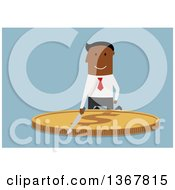 Clipart Of A Flat Design Black Business Man Cutting A Coin On Blue Royalty Free Vector Illustration by Vector Tradition SM
