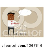 Clipart Of A Flat Design Black Business Man Talking And Pushing A Shopping Cart On Tan Royalty Free Vector Illustration by Vector Tradition SM