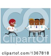 Clipart Of A Flat Design Black Business Man Football Player Running To A Team On Blue Royalty Free Vector Illustration