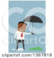 Clipart Of A Flat Design Black Business Man Holding An Umbrella Over Cash On Blue Royalty Free Vector Illustration
