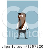 Clipart Of A Flat Design Black Business Man Dropping His Jaw On Blue Royalty Free Vector Illustration