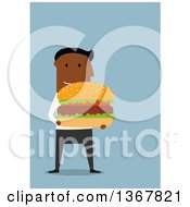 Clipart Of A Flat Design Black Business Man Holding A Giant Hamburger On Blue Royalty Free Vector Illustration
