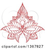 Clipart Of A Red Henna Lotus Flower Royalty Free Vector Illustration