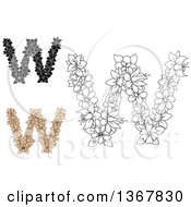 Clipart Of Floral Uppercase Alphabet Letter W Designs Royalty Free Vector Illustration