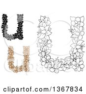 Clipart Of Floral Lowercase Alphabet Letter U Designs Royalty Free Vector Illustration
