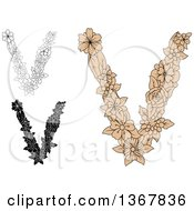 Floral Lowercase Alphabet Letter V Designs