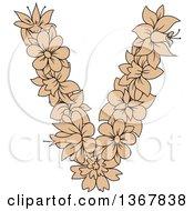 Clipart Of A Tan Floral Uppercase Alphabet Letter V Royalty Free Vector Illustration