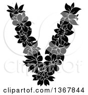 Clipart Of A Black And White Floral Uppercase Alphabet Letter V Royalty Free Vector Illustration