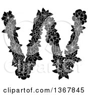 Clipart Of A Black And White Floral Lowercase Alphabet Letter W Royalty Free Vector Illustration