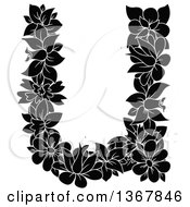 Clipart Of A Black And White Floral Lowercase Alphabet Letter U Royalty Free Vector Illustration