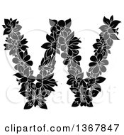 Clipart Of A Black And White Floral Uppercase Alphabet Letter W Royalty Free Vector Illustration by Vector Tradition SM