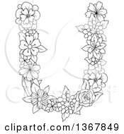 Clipart Of A Black And White Lineart Floral Uppercase Alphabet Letter U Royalty Free Vector Illustration by Vector Tradition SM