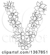 Clipart Of A Black And White Lineart Floral Uppercase Alphabet Letter V Royalty Free Vector Illustration by Vector Tradition SM