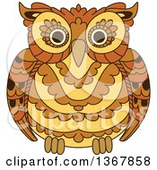 Clipart Of A Brown Owl Royalty Free Vector Illustration