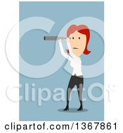 Clipart Of A Flat Design White Business Woman Looking Through A Telescope On Blue Royalty Free Vector Illustration by Vector Tradition SM