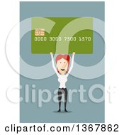 Clipart Of A Flat Design White Business Woman Holding Up A Credit Card On Blue Royalty Free Vector Illustration by Vector Tradition SM