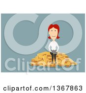 Flat Design White Business Woman Sitting On Gold Bars On Blue