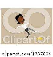 Clipart Of A Flat Design Black Business Woman Slipping On A Banana Peel On Tan Royalty Free Vector Illustration by Vector Tradition SM